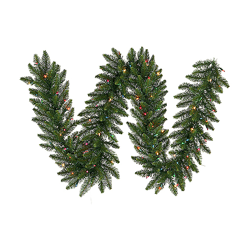9 Foot Camdon Fir Artificial Christmas Garland 20 Inch Wide 150 LED M5 Italian Multi Color Mini Lights