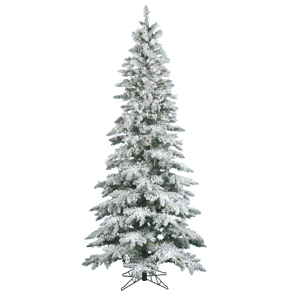 10 Foot Flocked Slim Utica Artificial Christmas Tree 700 LED Warm White Lights