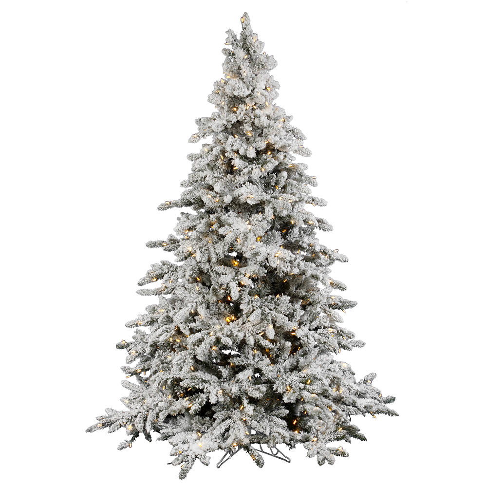 12 Foot Flocked Utica Artificial Christmas Tree 2150 LED M5 Italian Warm White Mini Lights
