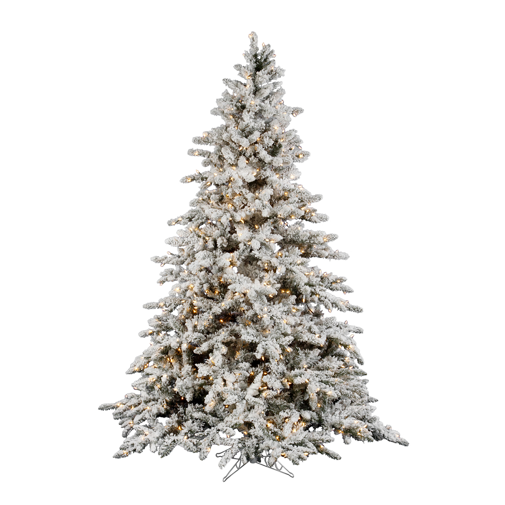 14 Foot Flocked Utica Artificial Christmas Tree 3050 DuraLit Incandescent Clear Mini Lights