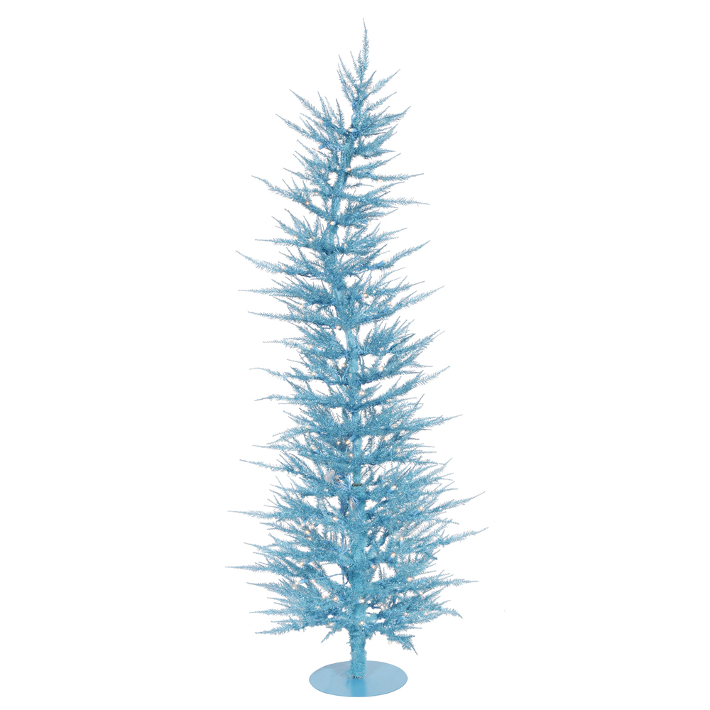 3 Foot Sky Blue Laser Artificial Christmas Tree   50 DuraLit Incandescent  Blue Mini Lights