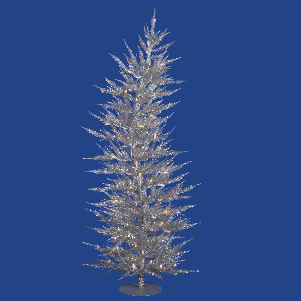 4 Foot Laser Silver Artificial Christmas Tree 70 DuraLit Incandescent Clear Mini Lights