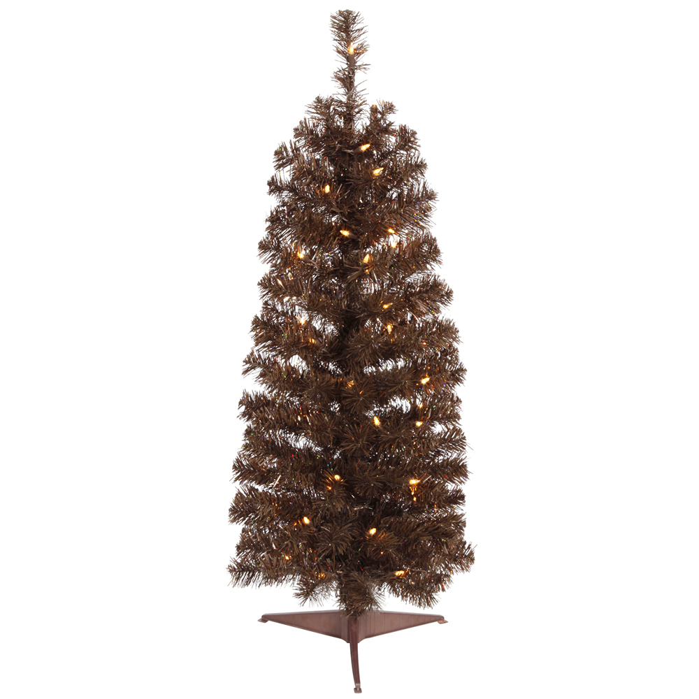 4.5 Foot Mocha Pencil Artificial Christmas Tree 150 LED M5 Italian Warm White Lights
