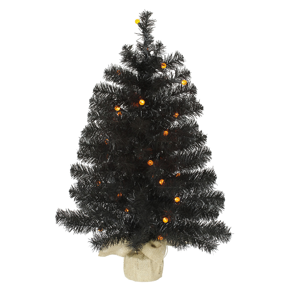 2.5 Foot Black Pine Artificial Halloween Tree 30 LED G12 Orange Globe Lights