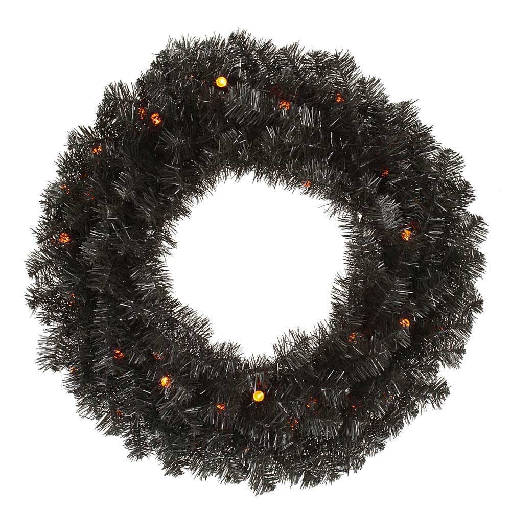 24 Inch Black Pine Halloween Wreath 20 G12 LED Orange Lights