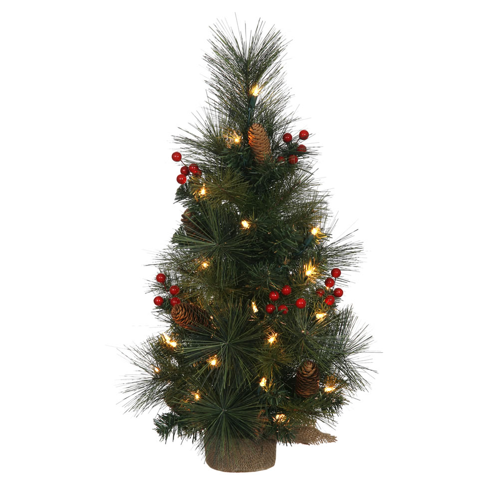 2 foot mixed pine berry cone artificial christmas tree 35 clear lights burlap base 2 foot tree 12 inch diameter item number b147625 price 3599 - 2 Foot Christmas Tree