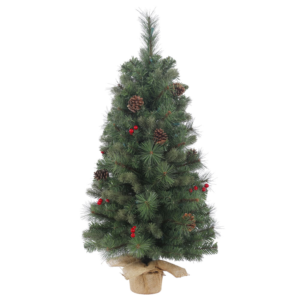 3 Foot Wesley Mixed Pine Artificial Christmas Tree Unlit Burlap Base