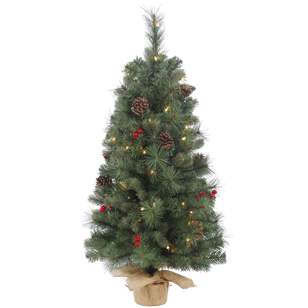 3 Foot Wesley Mixed Pine Artificial Christmas Tree 50 Incandescent Clear Mini Lights
