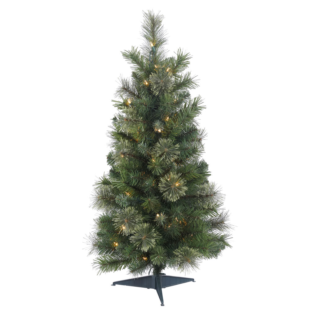 2 Foot Butte Mixed Pine Artificial Christmas Tree  35 Clear Lights