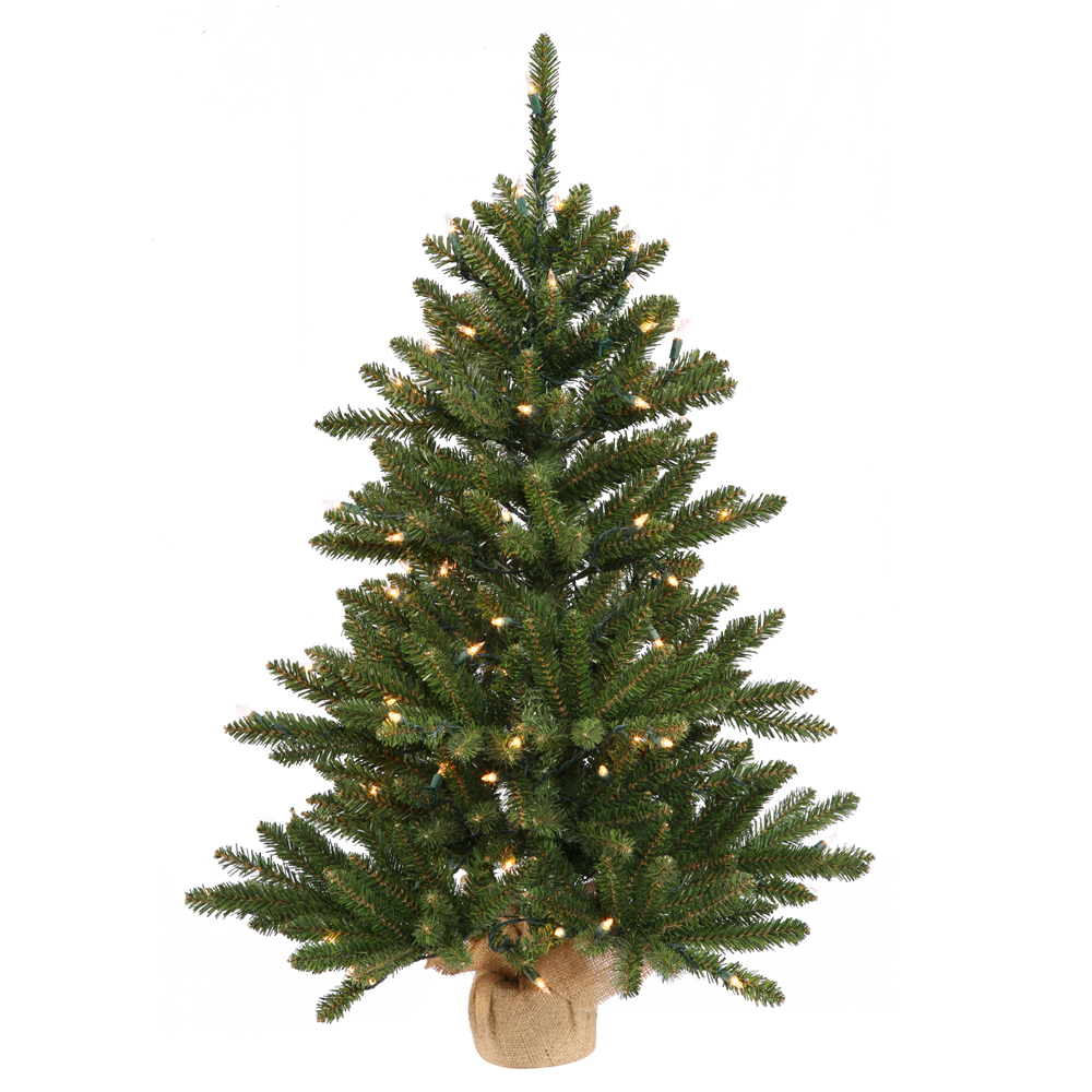 3 Foot Anoka Pine Artificial Christmas Tree Burlap Base 100 DuraLit Incandescent Multi Color Mini Lights