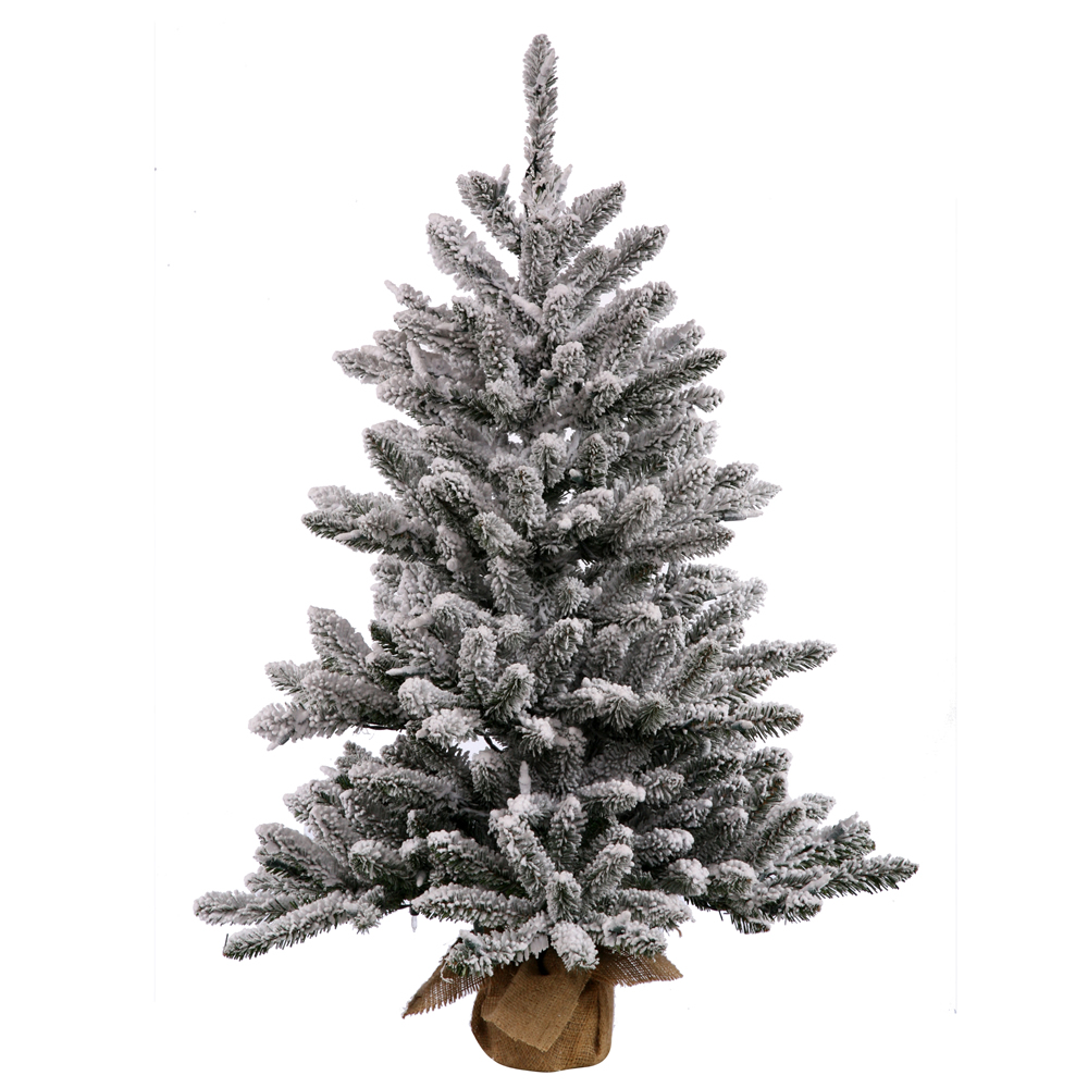 3.5 Foot Unlit Flocked Anoka Pine Artificial Christmas Tree Burlap Base Unlit