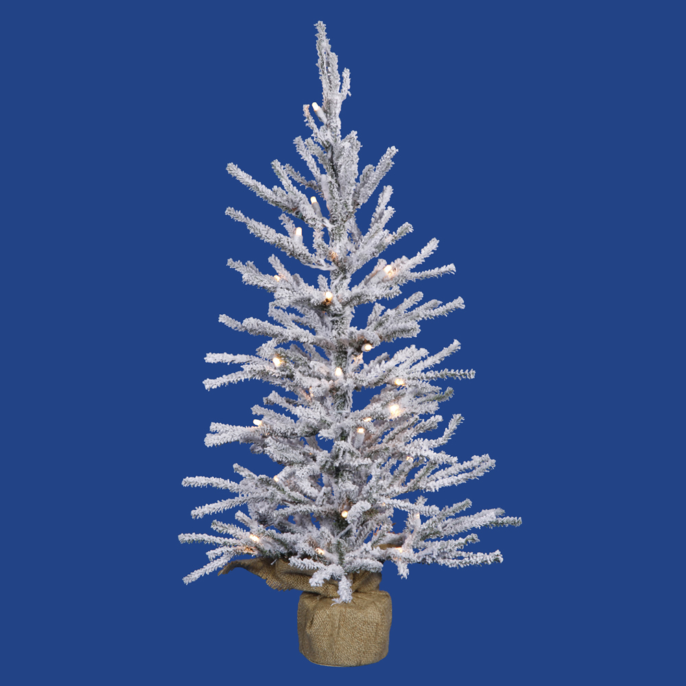 3 Foot Flocked Angel Pine Artificial Christmas Tree 50 DuraLit Incandescent Clear Mini Lights