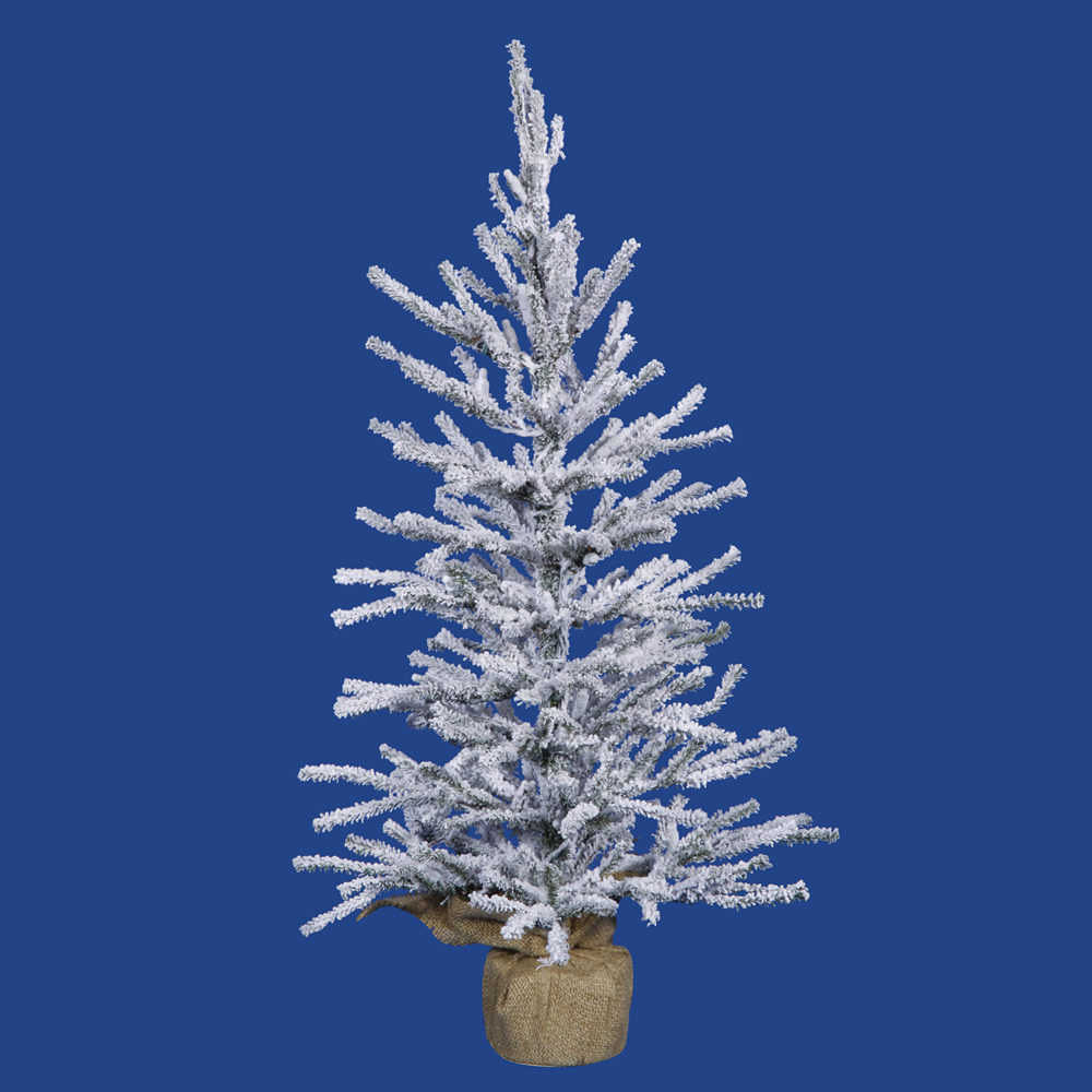 4 Foot Flocked Angel Pine Artificial Christmas Tree - Unlit - Burlap Base
