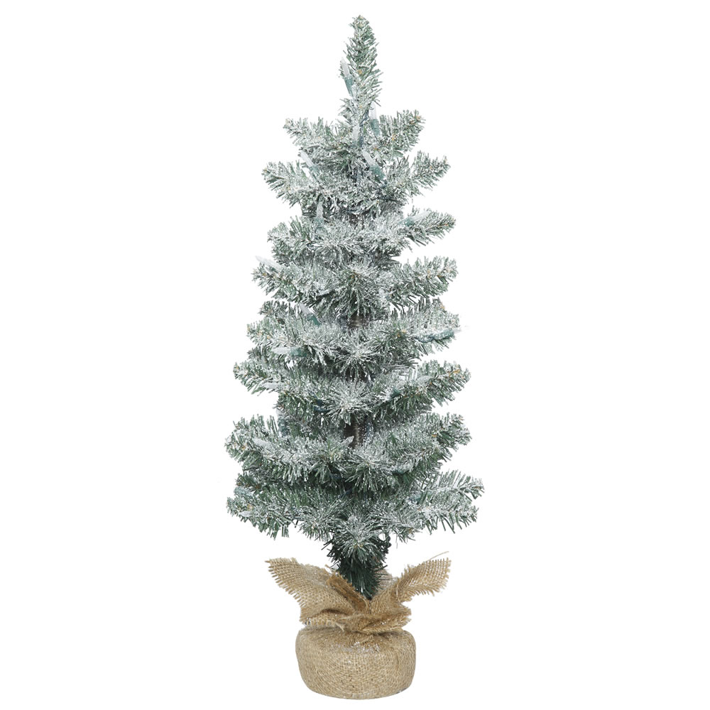 2 Foot Frosted Pine Pole Artificial Christmas Tree  Unlit  Burlap Base