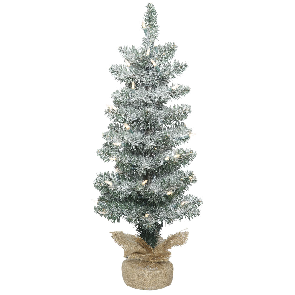 2 Foot Frosted Pine Pole Artificial Christmas Tree 35 LED M5 Italian Warm White Lights Burlap Base
