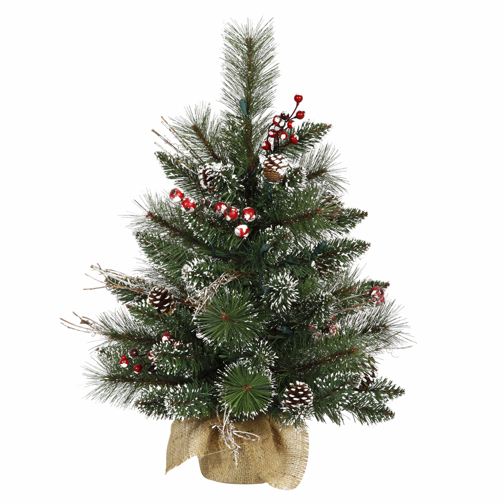 2 Foot Snow Tipped Pine Berry Artificial Christmas Tree Unlit