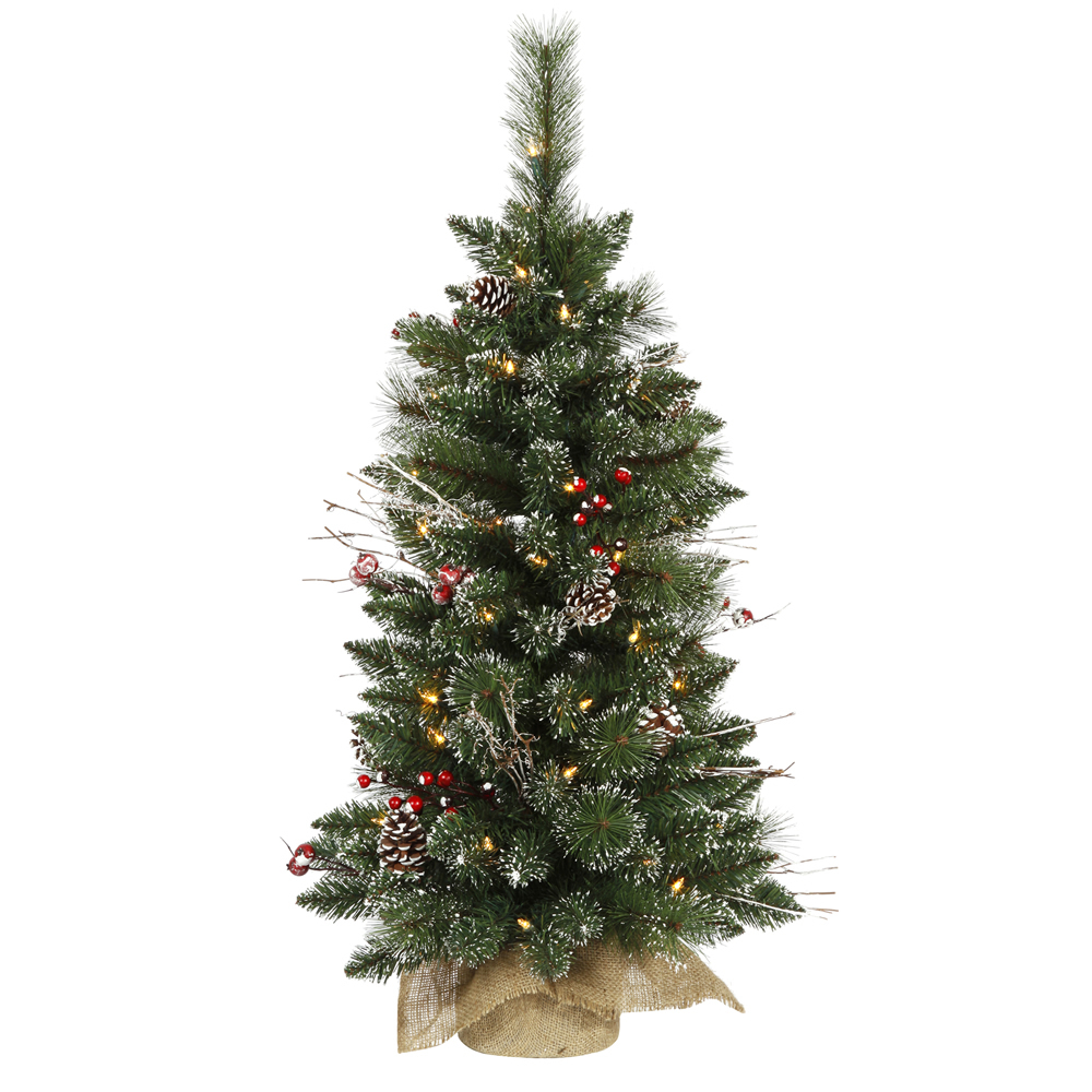 3 Foot Snow Tipped Pine and Berry Artificial Christmas Tree 50 DuraLit LED M5 Italian Warm White Mini Lights