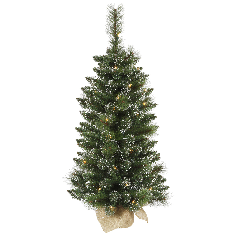 3 Foot Snow Tipped Mixed Pine Artificial Christmas Tree 50 DuraLit LED M5 Italian Warm White Mini Lights