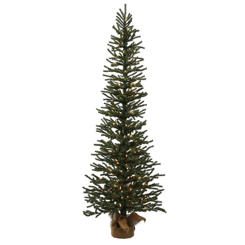4 Foot Pine Artificial Christmas Tree 100 DuraLit Incandescent Clear Lights Burlap Base