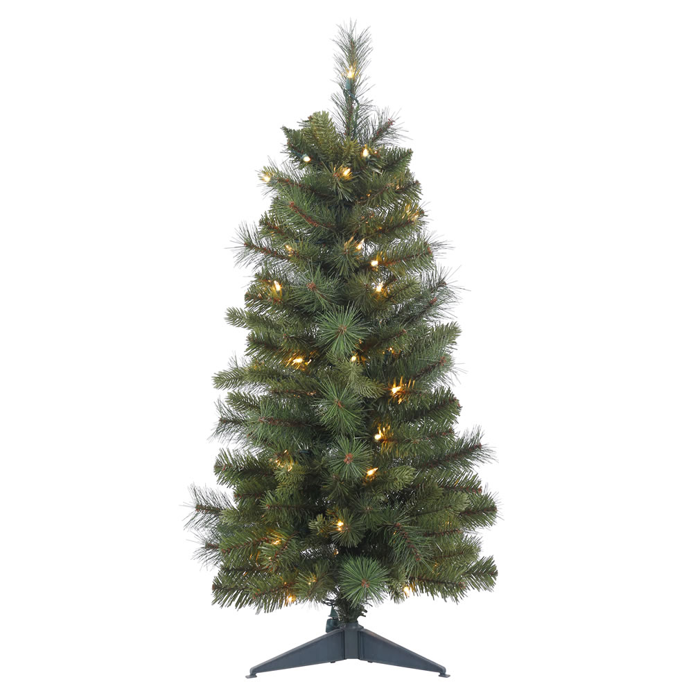 3 Foot Classic Mixed Pine Artificial Christmas Tree 50 DuraLit Incandescent Mini Clear Lights