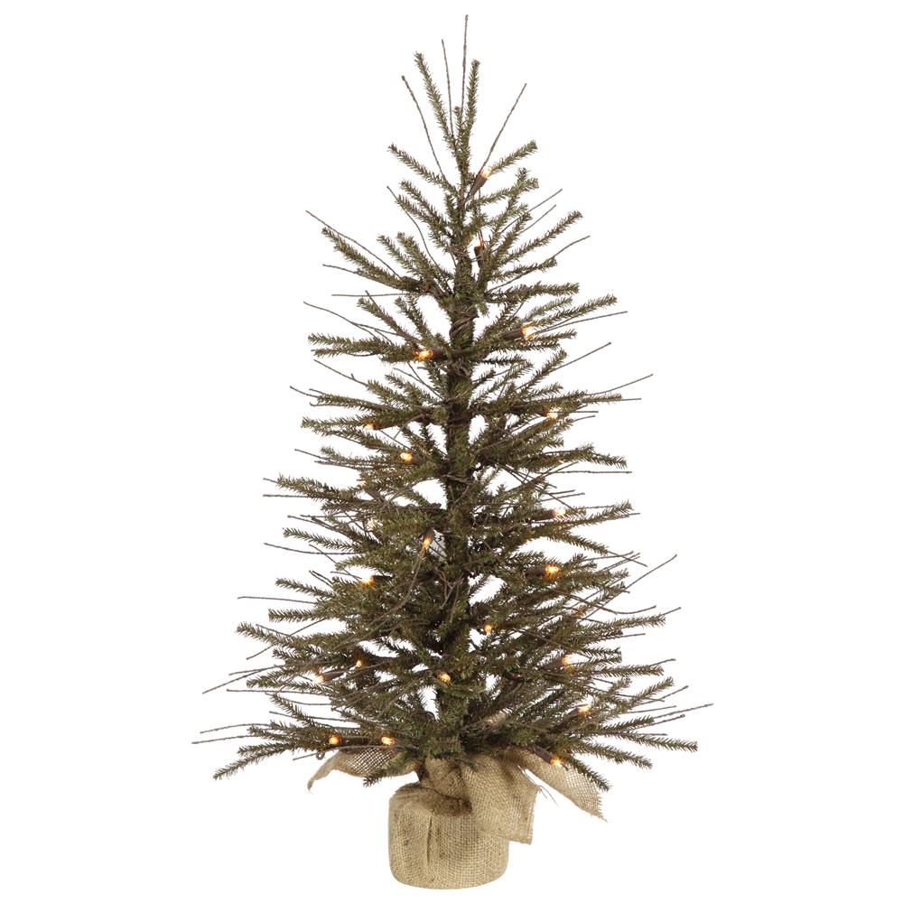 2.5 Foot Vienna Twig Artificial Christmas Tree 35 DuraLit LED M5 Italian Warm White Mini Lights Burlap Base