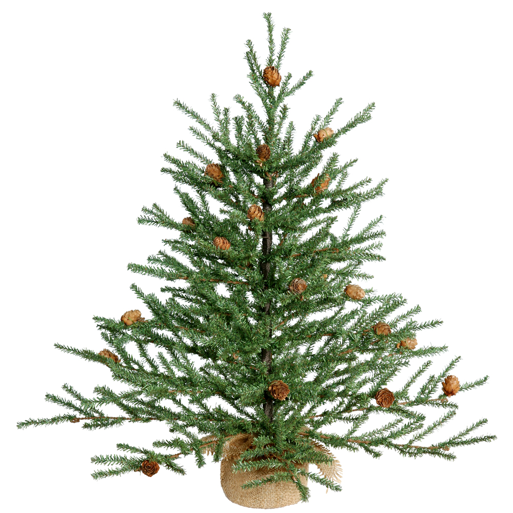 24 Inch Carmel Pine Artificial Christmas Tree Unlit Burlap Base