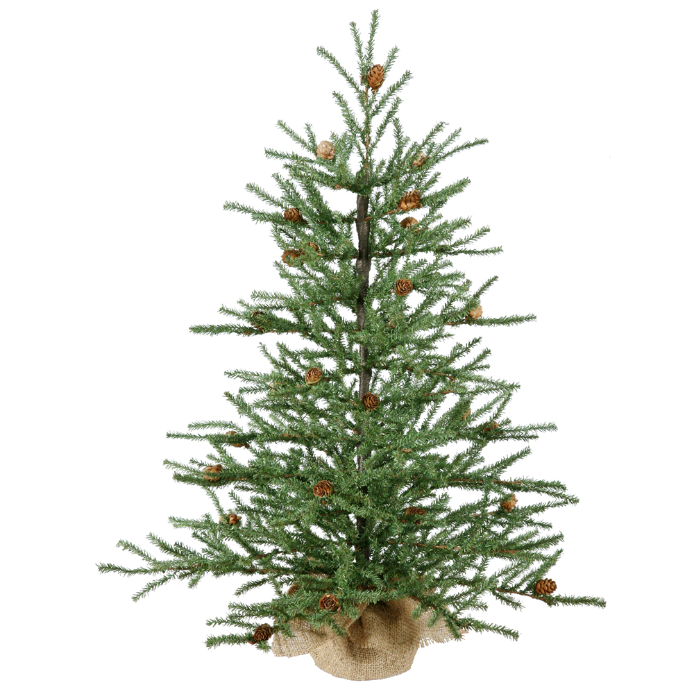 3 Foot Carmel Pine Artificial Christmas Tree - 50 DuraLit Incandescent Clear Bulbs - Burlap Base
