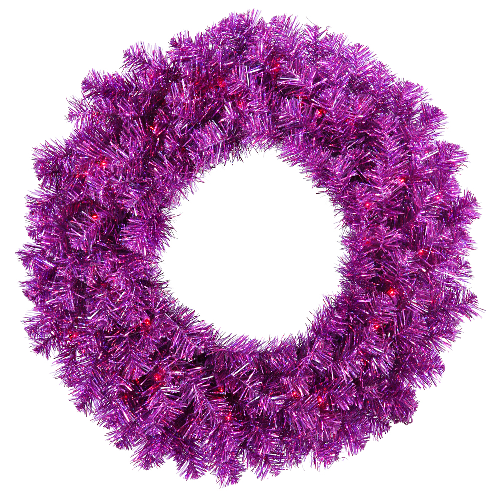 24 Inch Purple Artificial Halloween Wreath 50 Incandescent Purple Mini Lights