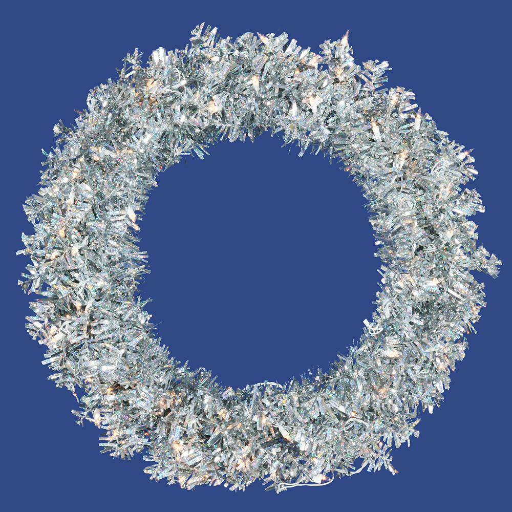 36 Inch Silver Wide Cut Artificial Christmas Wreath 100 Clear Lights