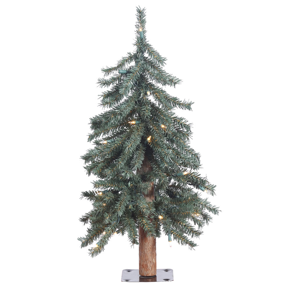 2 Foot Natural Bark Alpine Artificial Christmas Tree 35 DuraLit LED Warm White Italian Mini Lights