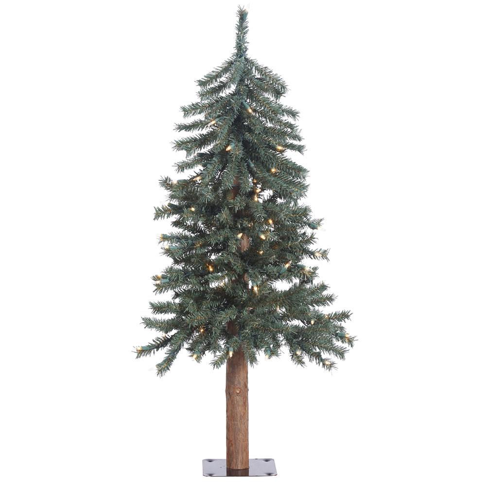 3 Foot Natural Bark Alpine Artificial Christmas Tree - 70 DuraLit Incandescent Clear Mini Lights