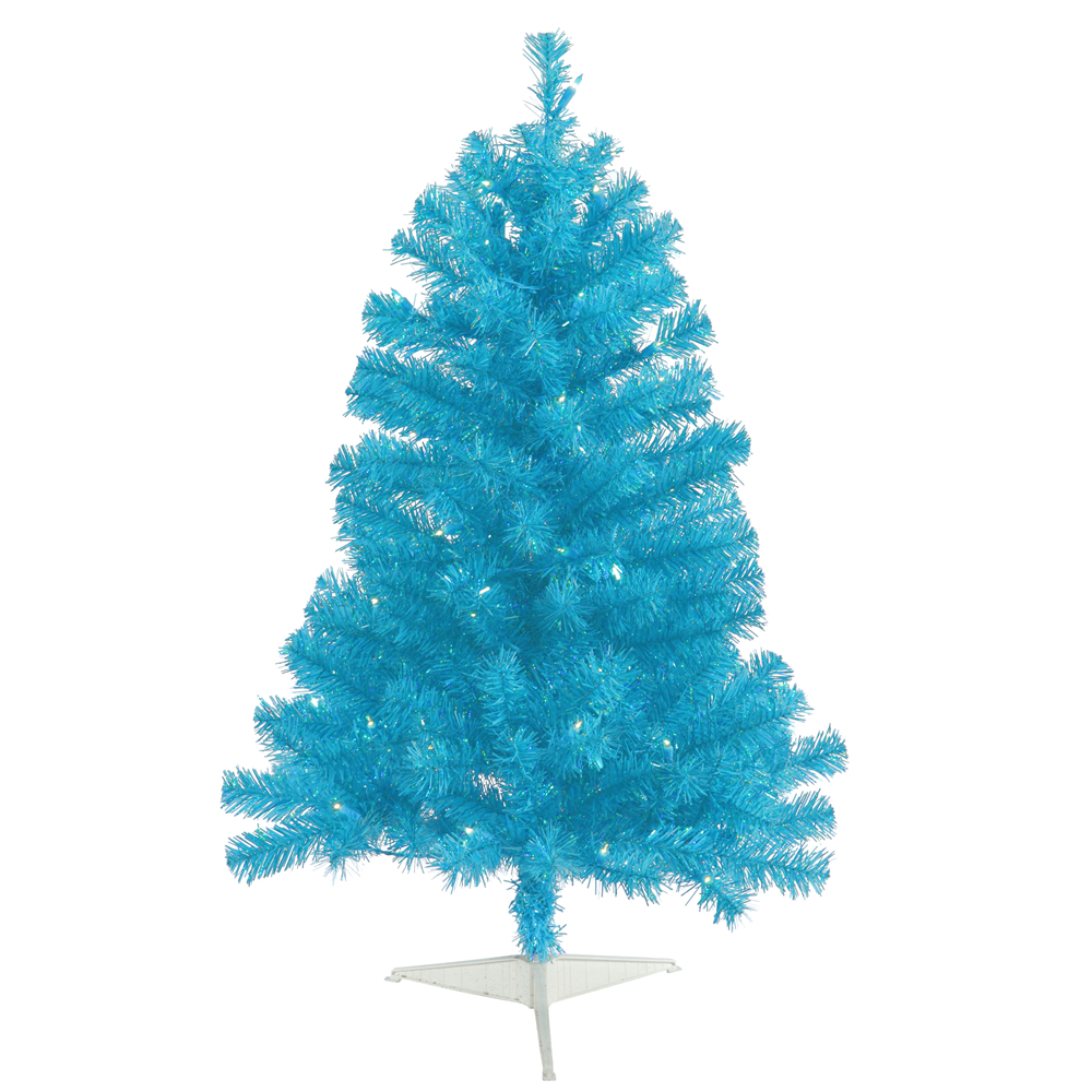 3 Foot Sky Blue Artificial Christmas Tree 50 LED M5 Italian Teal Lights