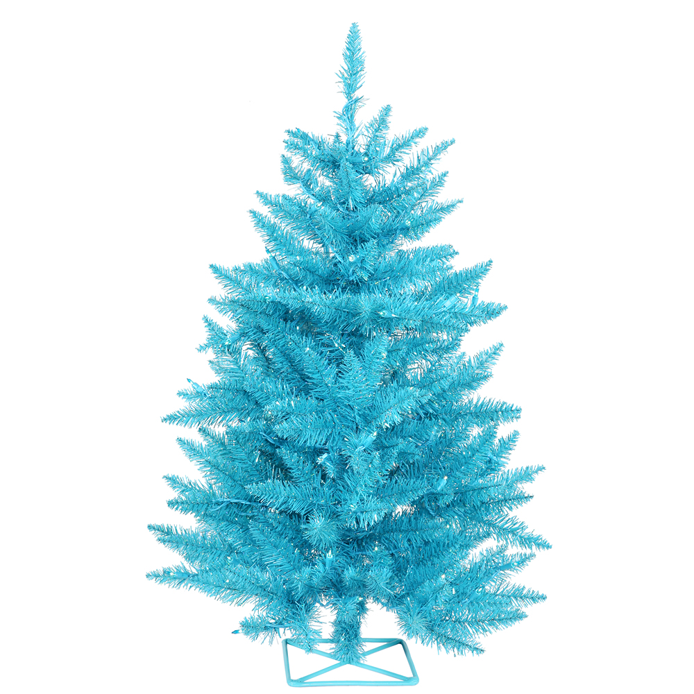 3 Foot Sky Blue Artificial Christmas Tree 70 DuraLit Incandescent Teal Mini Lights
