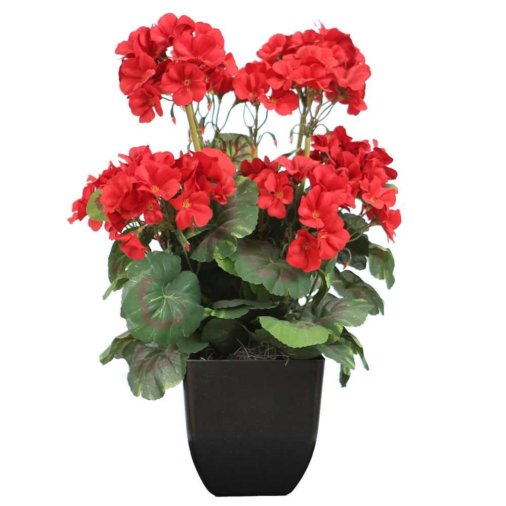 Red Geranium Artificial Plant Decorative Black Pot