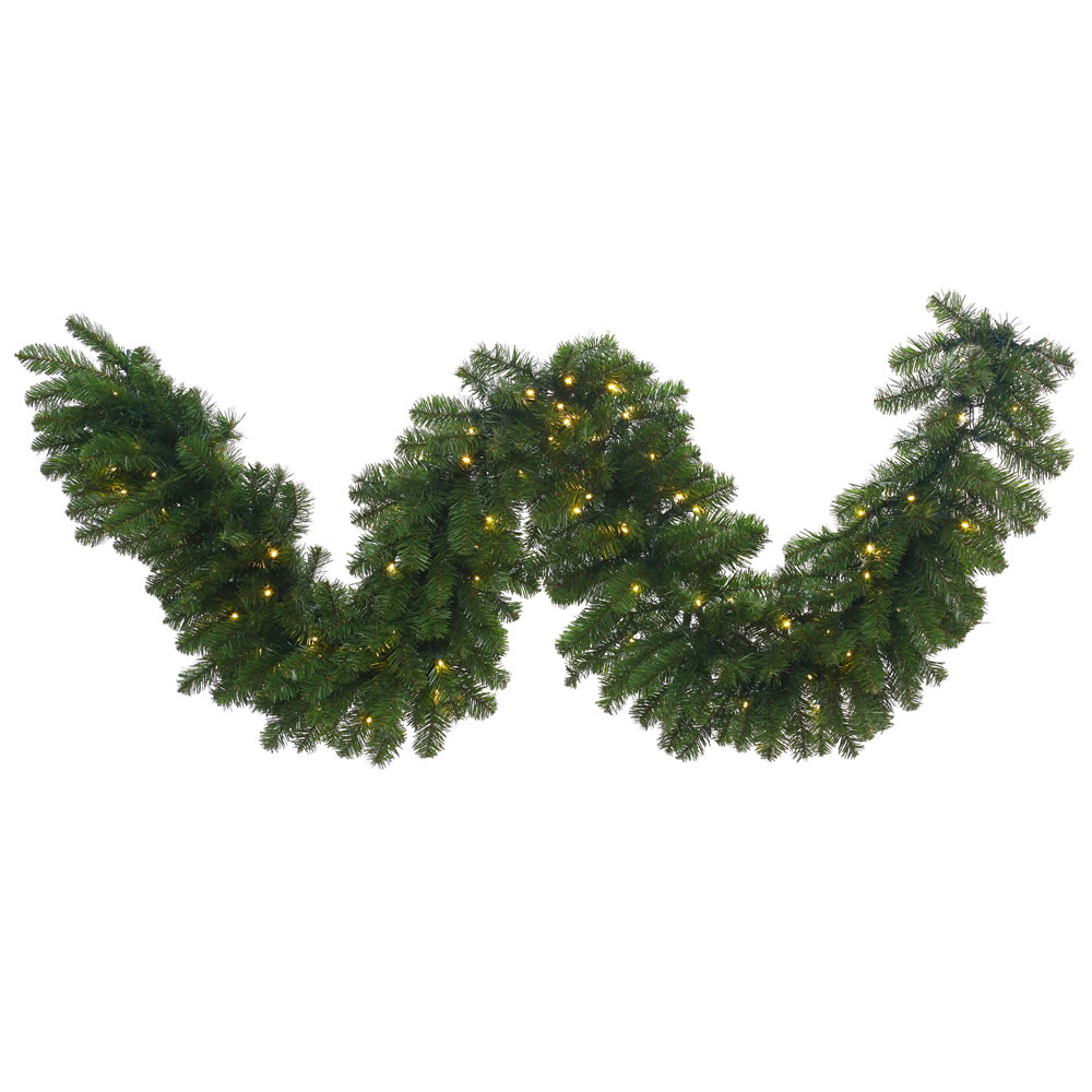 9 Foot Grand Teton Garland 150 LED Warm White Lights