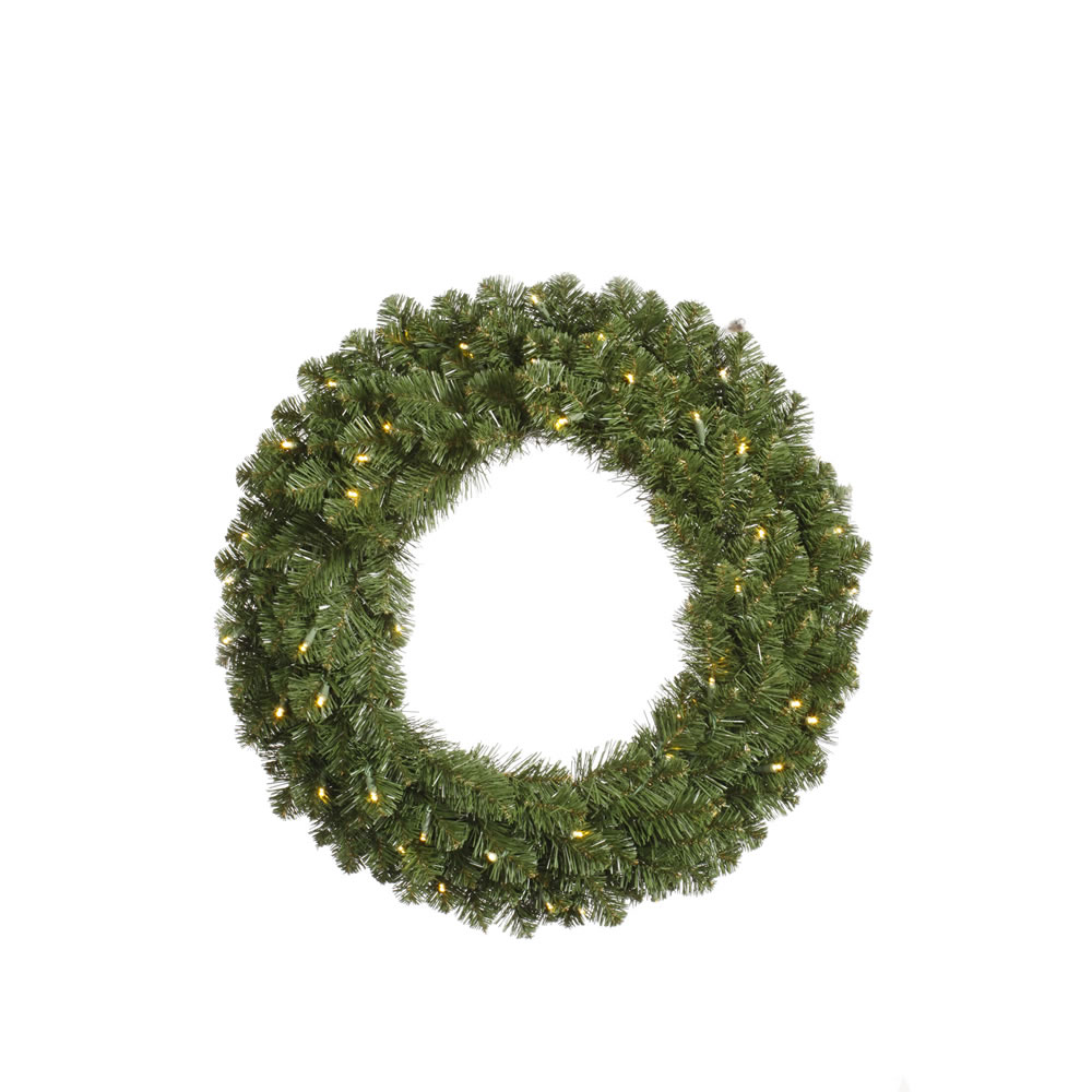 8 Foot Grand Teton Artificial Christmas Wreath 1000 DuraLit Incandescent Clear Mini Lights
