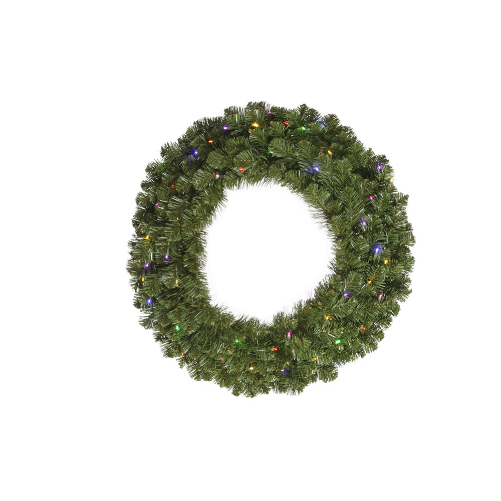 10 Foot Grand Teton Artificial Christmas Wreath 1200 LED 5MM Wide Angle Polka Dot Multi Color Lights