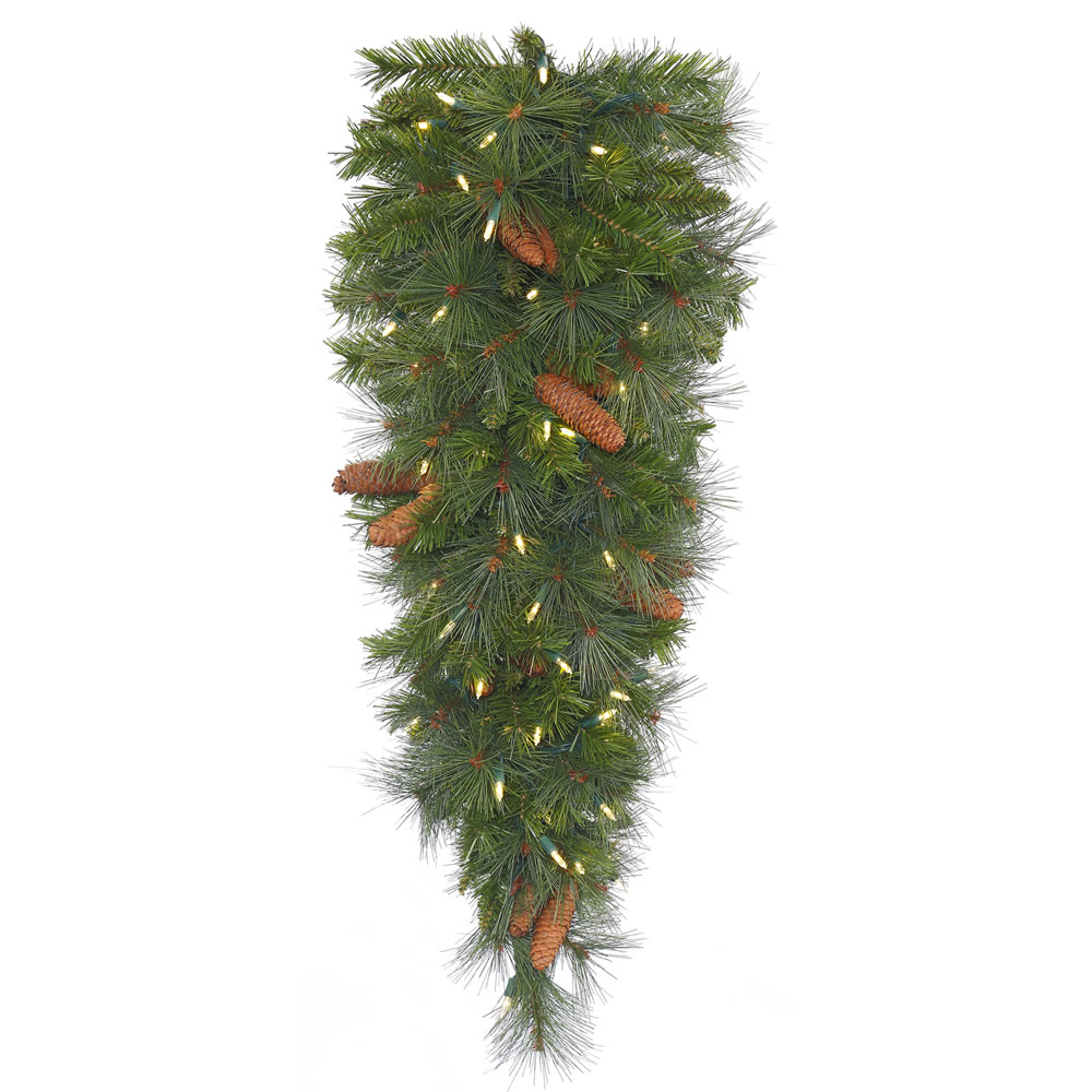 36 Inch Savannah Mixed Pine Artificial Christmas Teardrop Featuring Real Pine Cones and 50 Warm White LED Lights