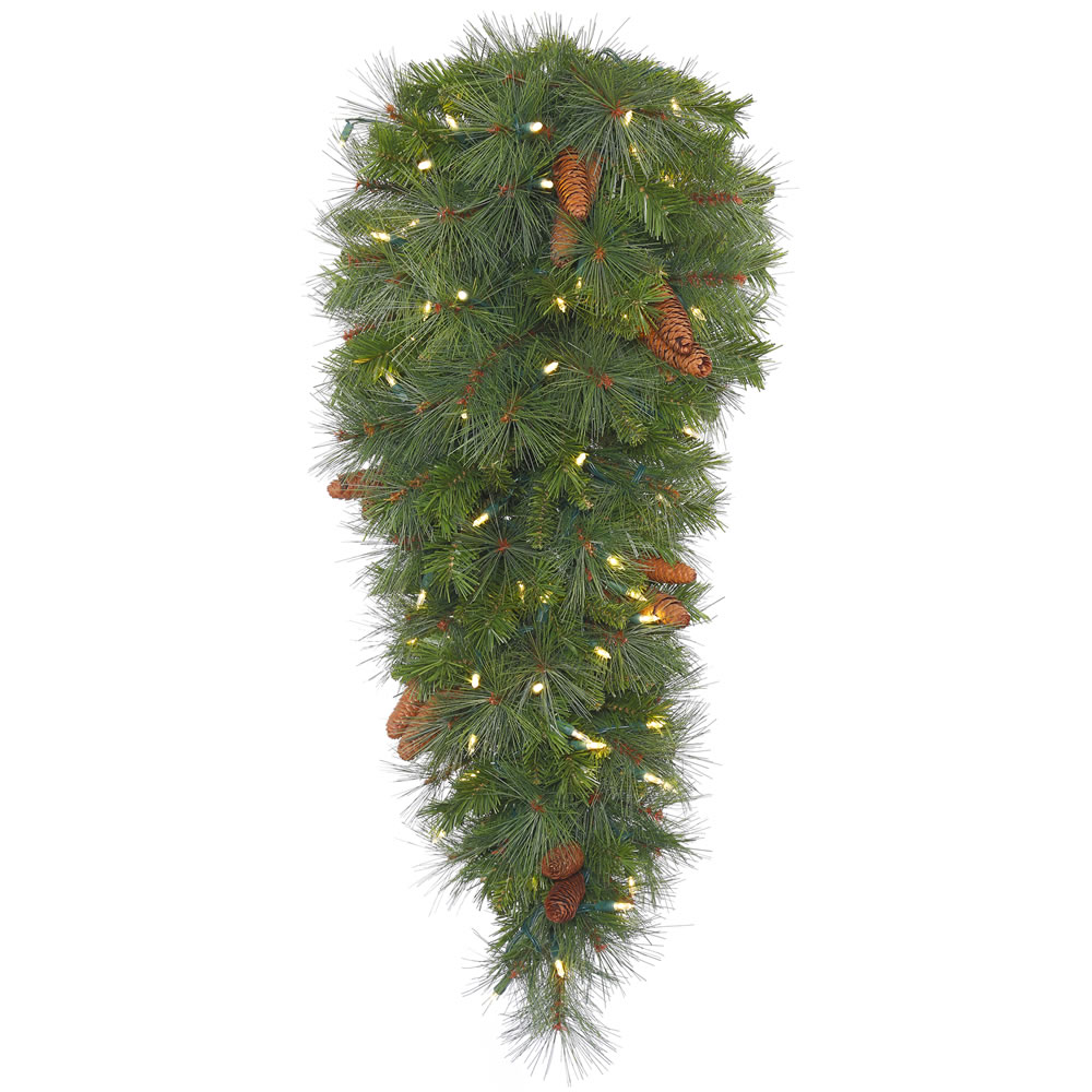 48 Inch Savannah Mixed Pine Artificial Christmas Teardrop Featuring Real Pine Cones and 100 Clear Lights