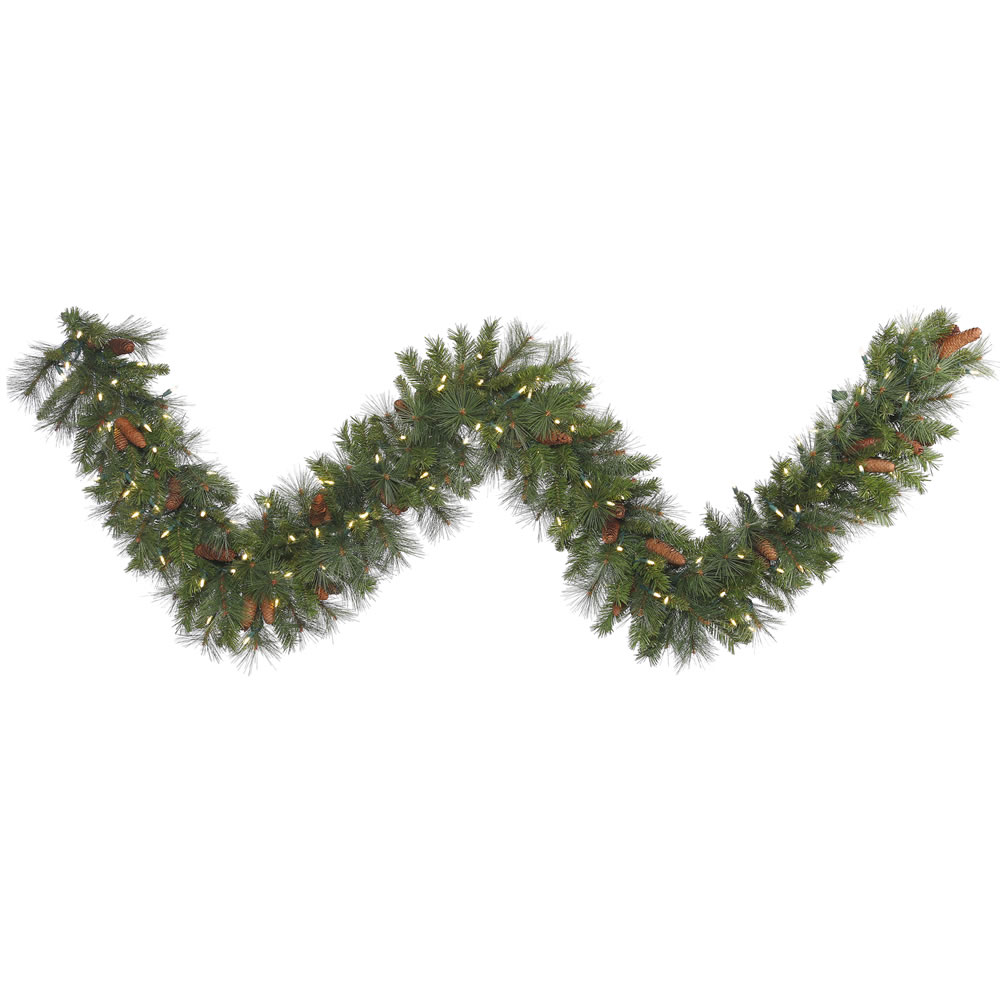 9 Foot Savannah Mixed Artificial Christmas Garland 150 LED M5 Italian Warm White Mini Lights