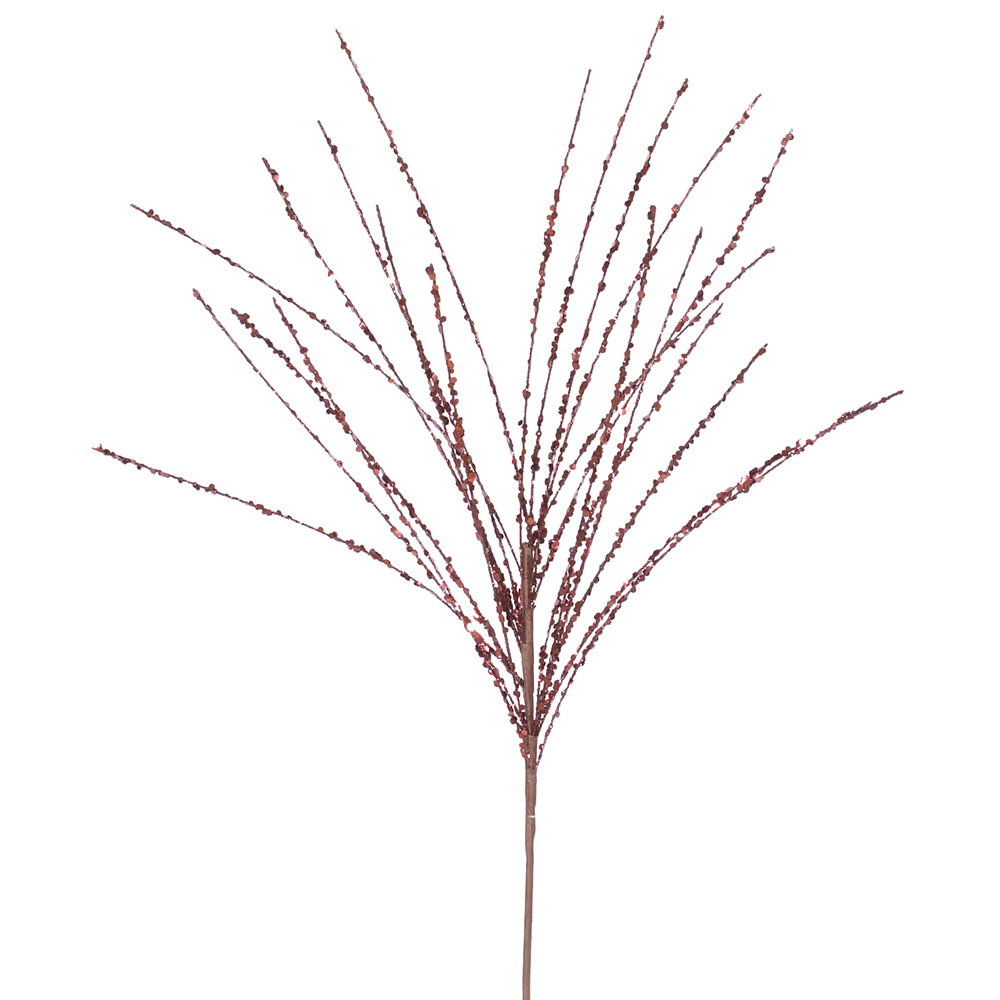 Burgundy Glitter Sequin Grass Decorative Artificial Christmas Spray Set of 12
