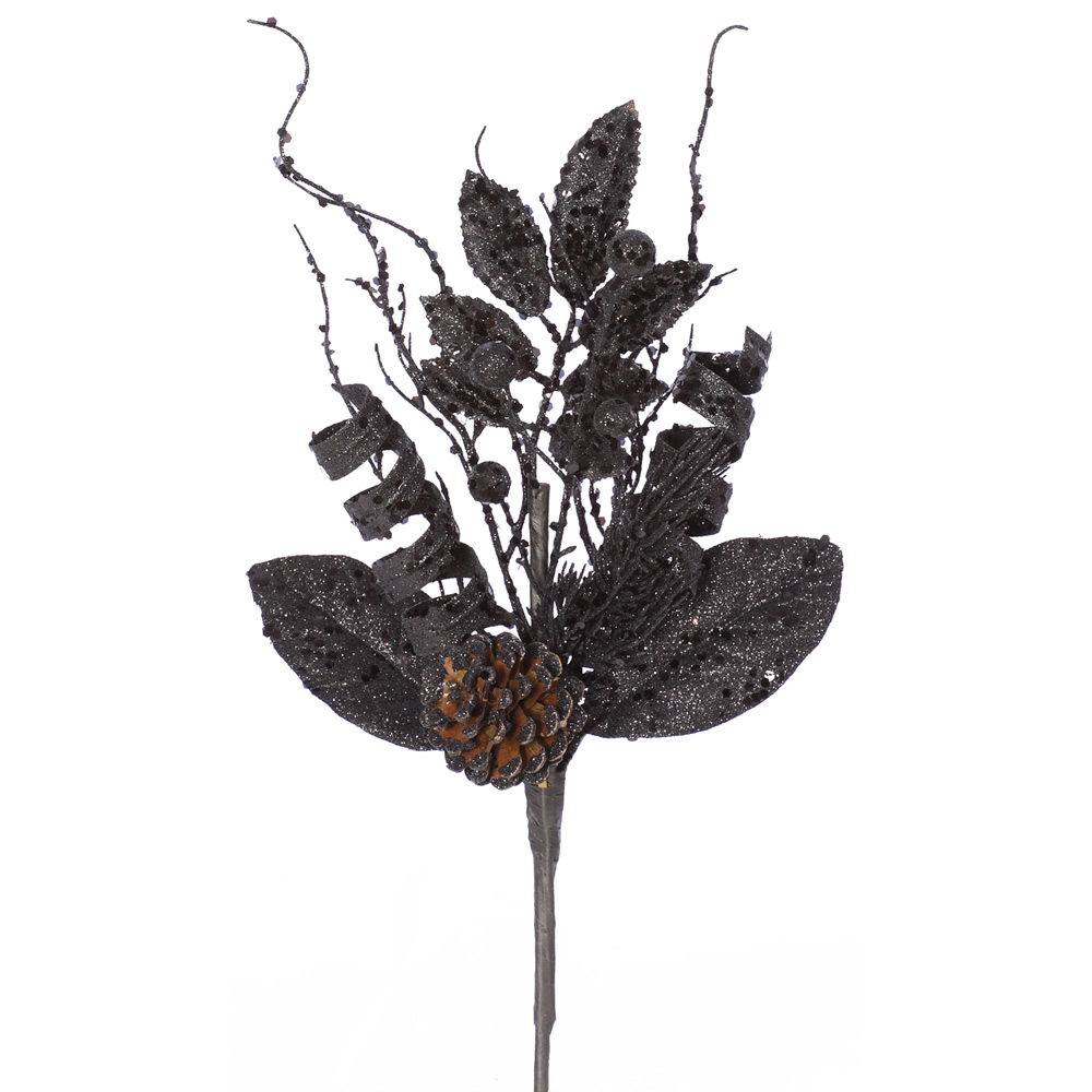 Black Glitter Sequin Foliage Pine Cone Decorative Artificial Christmas Spray Set of 12