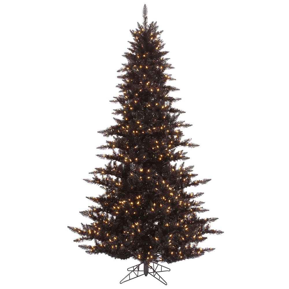 7.5 Foot Black Fir Artificial Halloween Tree 750 Incandescent Clear Mini Lights