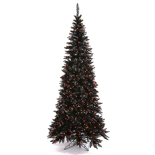 10 Foot Slim Black Artificial Halloween Tree 900 Incandescent Orange Mini Lights