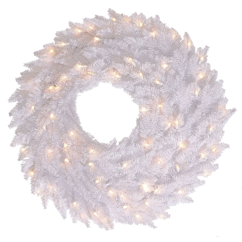 30 Inch White Fir Artificial Christmas Wreath with 100 LED M5 Italian Warm White Lights