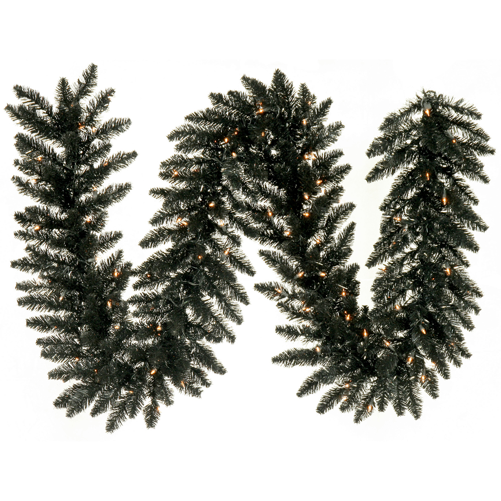 9 Foot Black Fir Artificial Halloween Garland 100 DuraLit LED M5 Italian Warm White Mini Lights