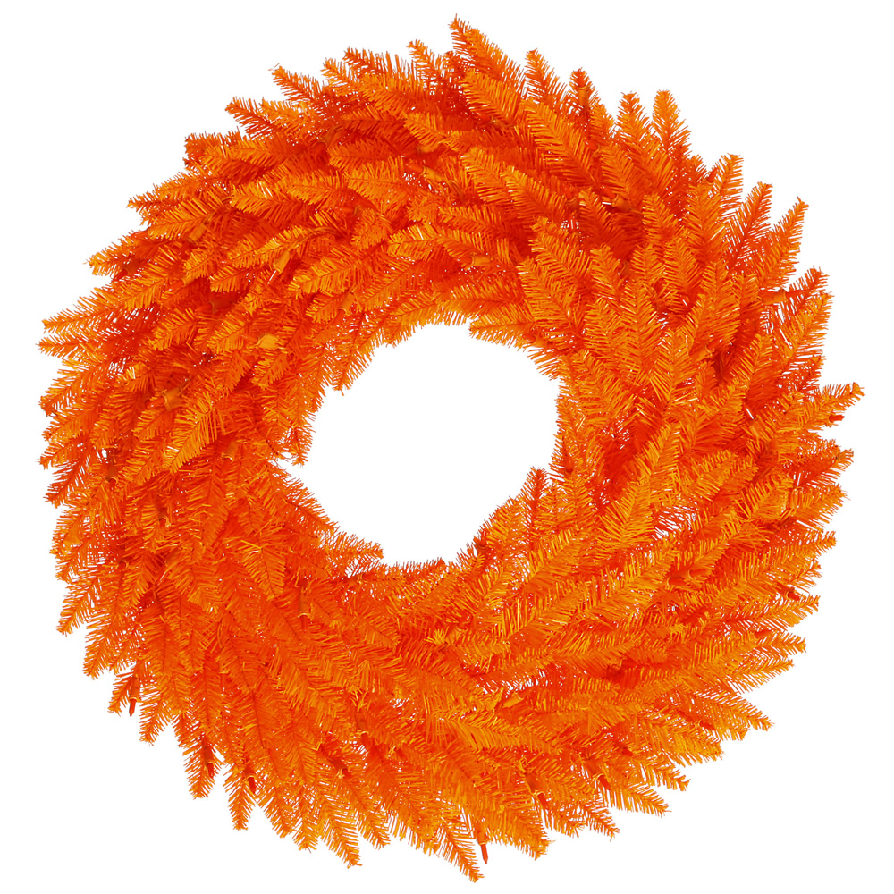 24 Inch Orange Fir Artificial Halloween Wreath Unlit