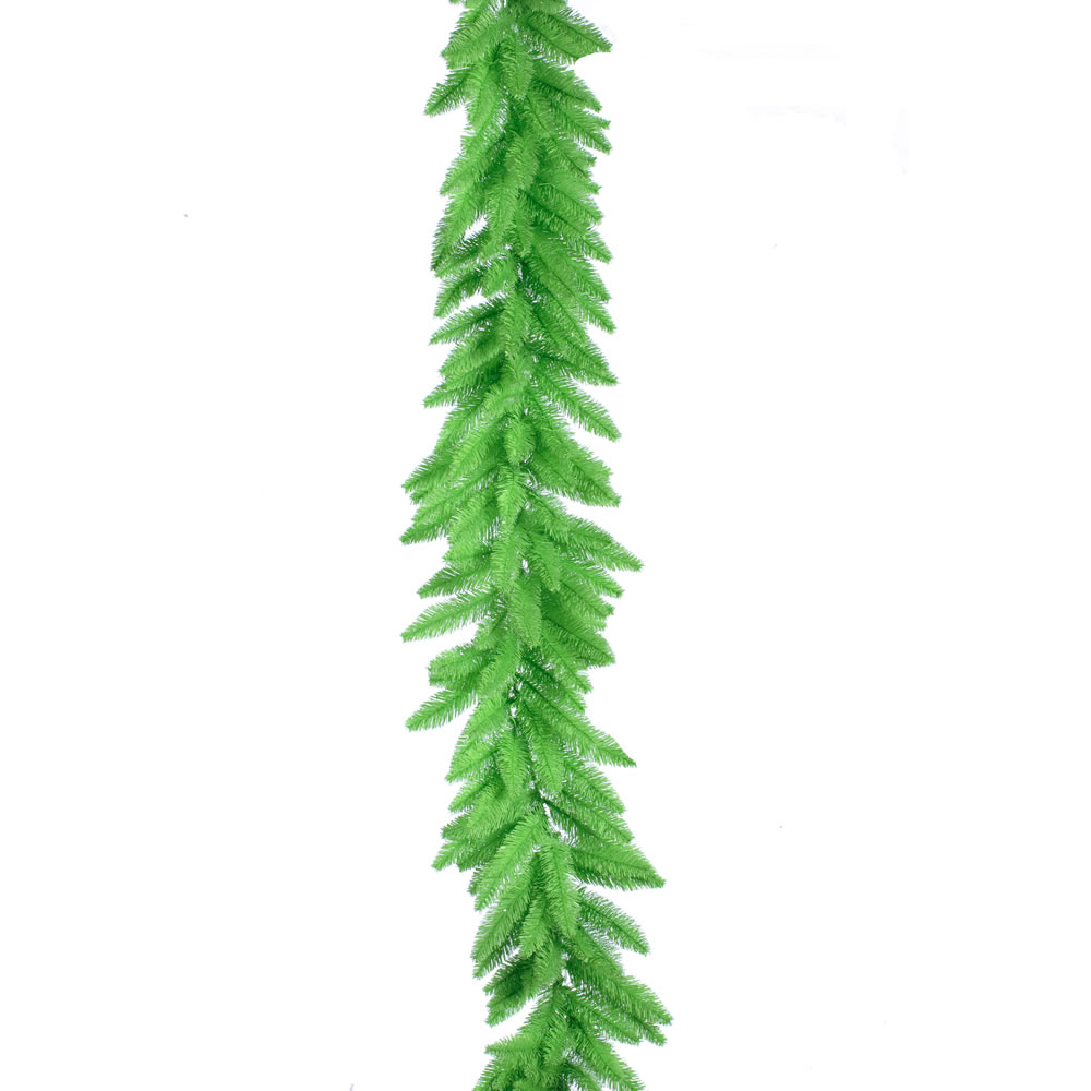9 Foot Lime Green Artificial Halloween Garland 100 DuraLit LED M5 Italian Lime Green Mini Lights