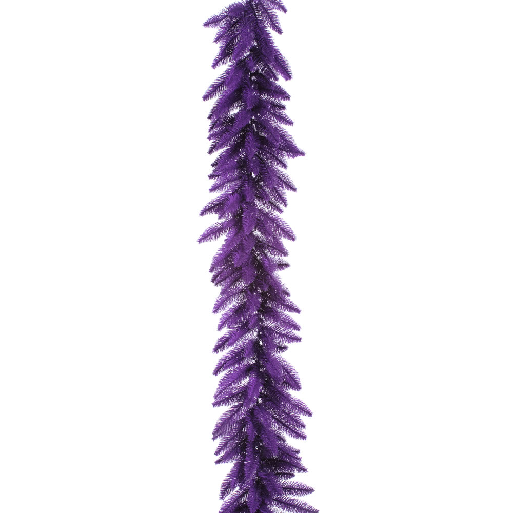 9 Foot Purple Artificial Halloween Garland 100 DuraLit LED M5 Italian Purple Mini Lights