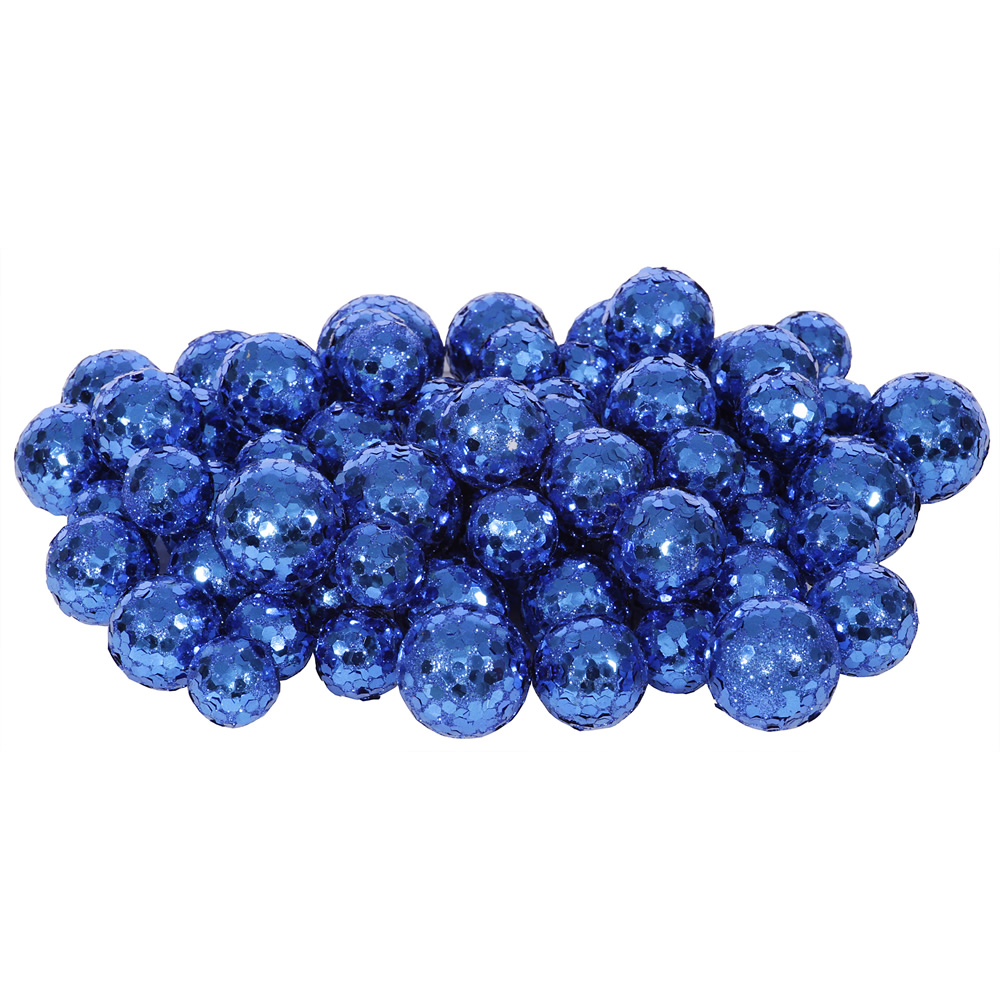 Blue Glitter Sequin Styrofoam Ball Assorted Sizes Pack of 72